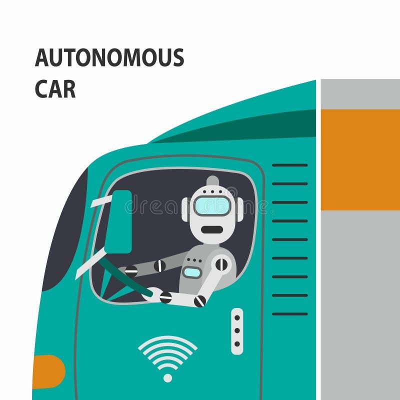 Ρομπότ που οδηγεί ένα αυτοκίνητο επίσης corel σύρετε το διάνυσμα απεικόνισης διανυσματική απεικόνιση