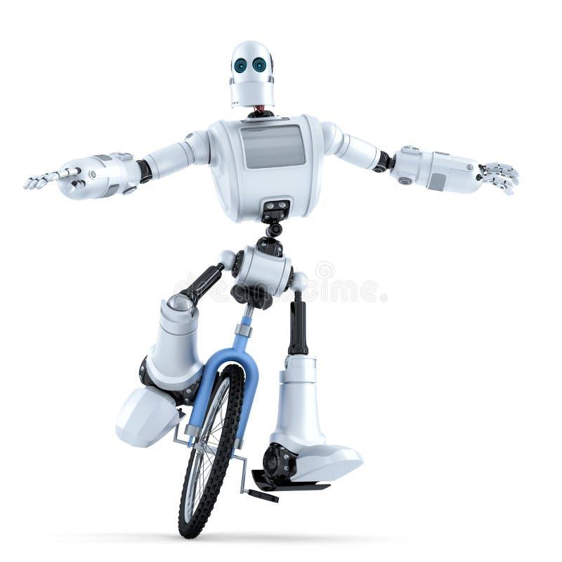Ρομπότ που οδηγά unicycle απομονωμένο έννοια λευκό τεχνολογίας απομονωμένος Περιέχει το μονοπάτι ψαλιδίσματος διανυσματική απεικόνιση