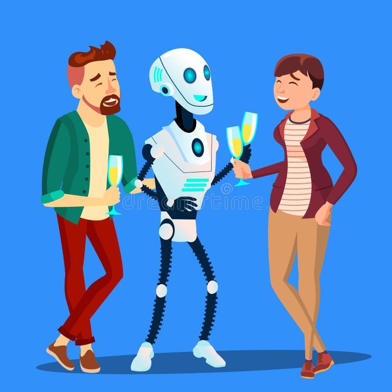 Ρομπότ που πίνει CHAMPAGNE και που γελά στο κόμμα με το διάνυσμα ανδρών και γυναικών απομονωμένη ωθώντας s κουμπιών γυναίκα έναρξ απεικόνιση αποθεμάτων