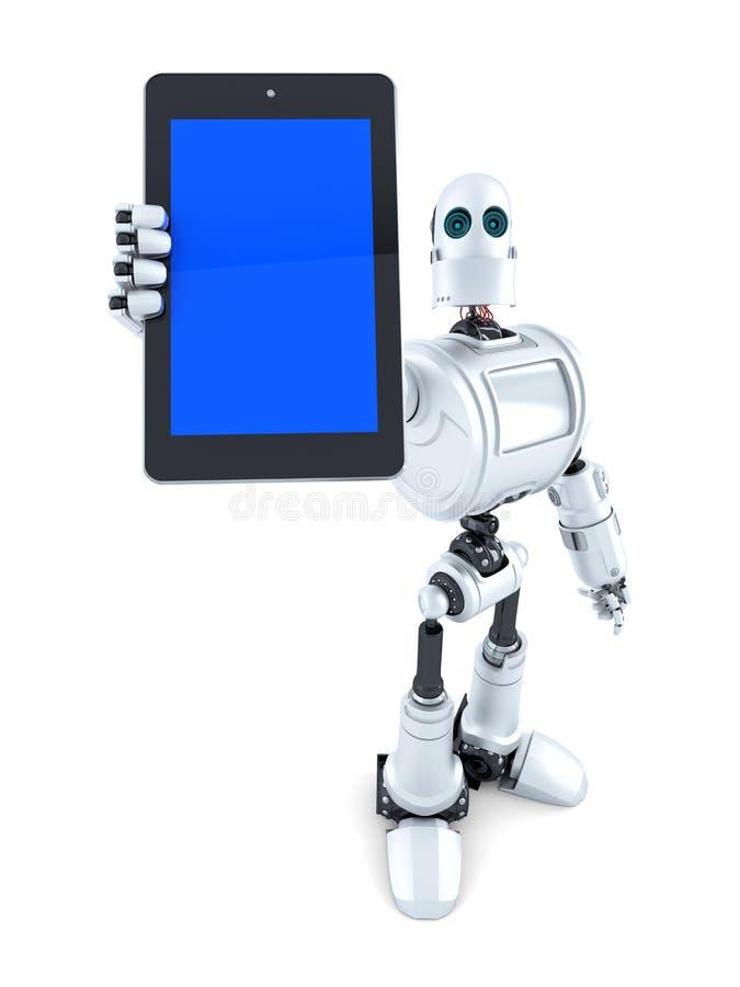 Ρομπότ που παρουσιάζει τηλέφωνο οθονών επαφής απομονωμένος Περιέχει το μονοπάτι ψαλιδίσματος ελεύθερη απεικόνιση δικαιώματος