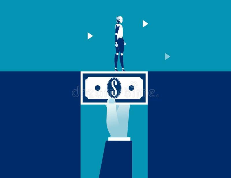Ρομπότ που περπατά στα χρήματα δολαρίων που γεφυρώνουν το χάσμα Επιχειρησιακή διανυσματική απεικόνιση έννοιας ελεύθερη απεικόνιση δικαιώματος