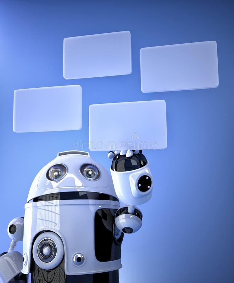Ρομπότ που πιέζει τα εικονικά κουμπιά ελεύθερη απεικόνιση δικαιώματος