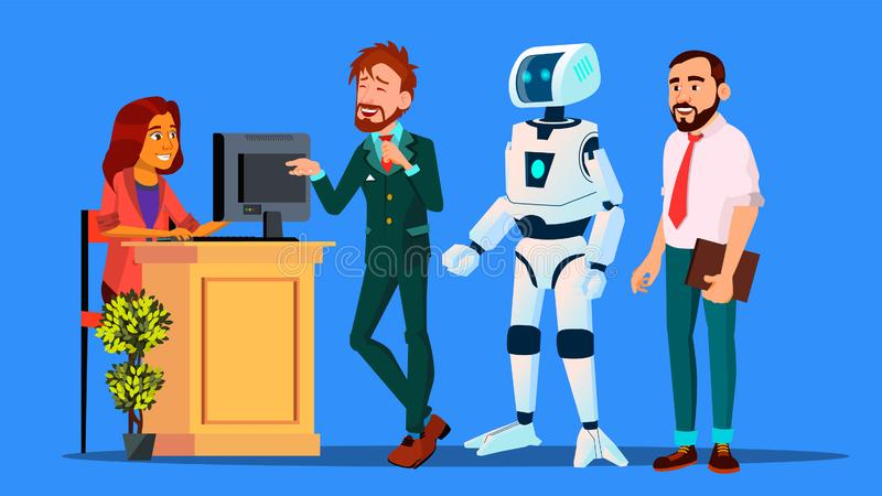 Ρομπότ που στέκεται στη γραμμή μεταξύ των ανθρώπων στο διάνυσμα γραφείων εισόδου απομονωμένη ωθώντας s κουμπιών γυναίκα έναρξης χ απεικόνιση αποθεμάτων