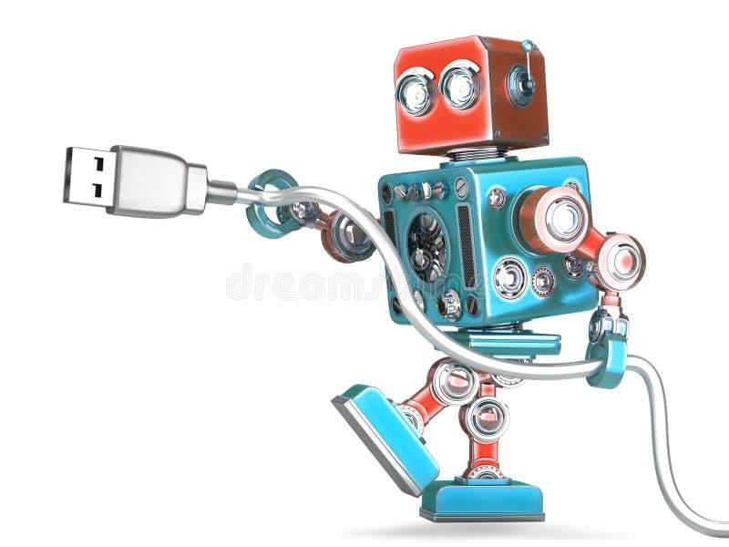 Ρομπότ που συνδέει το καλώδιο USB απομονωμένος Περιέχει το μονοπάτι ψαλιδίσματος ελεύθερη απεικόνιση δικαιώματος