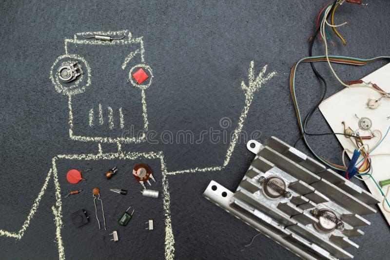 Ρομπότ, που σύρεται στην κιμωλία και τα αποσυντεθειμένα ηλεκτρικά μέρ διανυσματική απεικόνιση