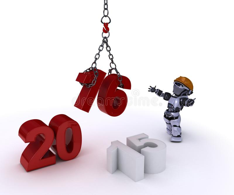 Ρομπότ που φέρνει στο νέο έτος διανυσματική απεικόνιση