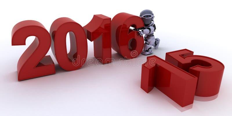Ρομπότ που φέρνει στο νέο έτος απεικόνιση αποθεμάτων