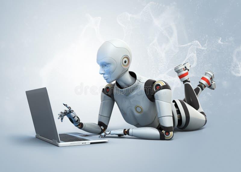 Ρομπότ που χρησιμοποιεί το lap-top διανυσματική απεικόνιση