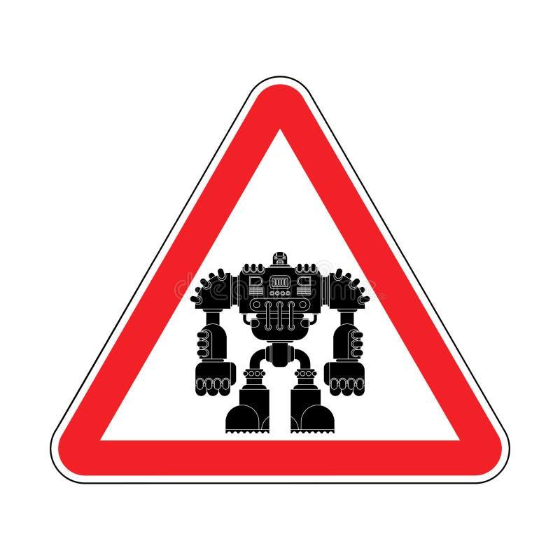 Ρομπότ προσοχής Κόκκινο μέλλον πολεμιστών Cyborg οδικών σημαδιών προσοχής VE διανυσματική απεικόνιση