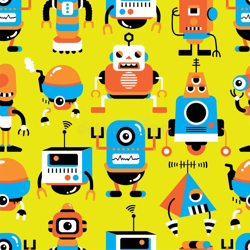 ρομπότ προτύπων άνευ ραφής διανυσματική απεικόνιση