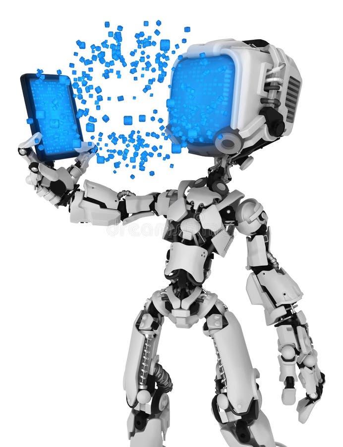 Ρομπότ σε ζωντανή οθόνη, μεταφορά συσκευών δεδομένων ελεύθερη απεικόνιση δικαιώματος