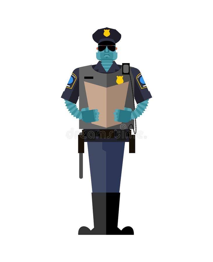 Ρομπότ σπολών Αστυνομικός Cyborg Ρομποτικό μέλλον ατόμων αστυνομίας ανώτερων υπαλλήλων διανυσματική απεικόνιση