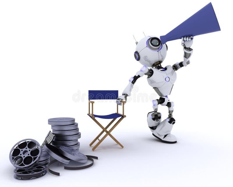 Ρομπότ στην καρέκλα διευθυντών με megaphone διανυσματική απεικόνιση