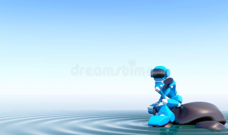 Ρομπότ στην πέτρα ελεύθερη απεικόνιση δικαιώματος