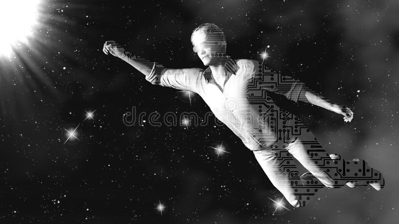 Ρομπότ στο διάστημα τρισδιάστατη απόδοση τέχνη 4K στοκ φωτογραφία με δικαίωμα ελεύθερης χρήσης