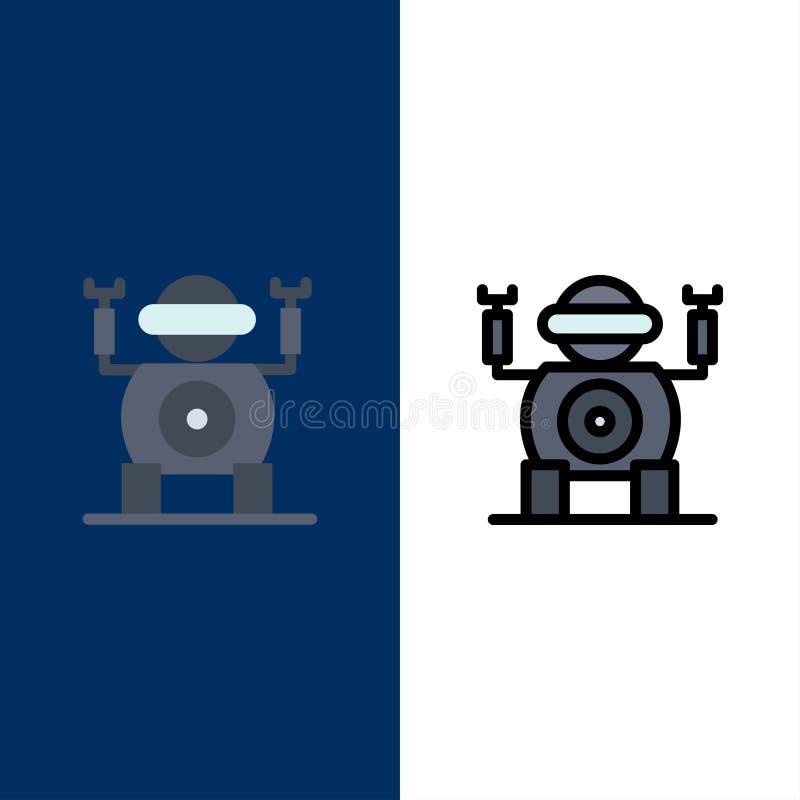 Ρομπότ, τεχνολογία, εικονίδια παιχνιδιών Επίπεδος και γραμμή γέμισε το καθορισμένο διανυσματικό μπλε υπόβαθρο εικονιδίων ελεύθερη απεικόνιση δικαιώματος