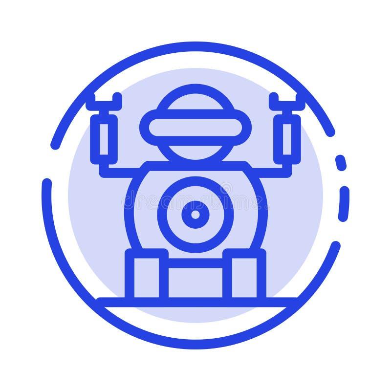 Ρομπότ, τεχνολογία, μπλε εικονίδιο γραμμών διαστιγμένων γραμμών παιχνιδιών διανυσματική απεικόνιση