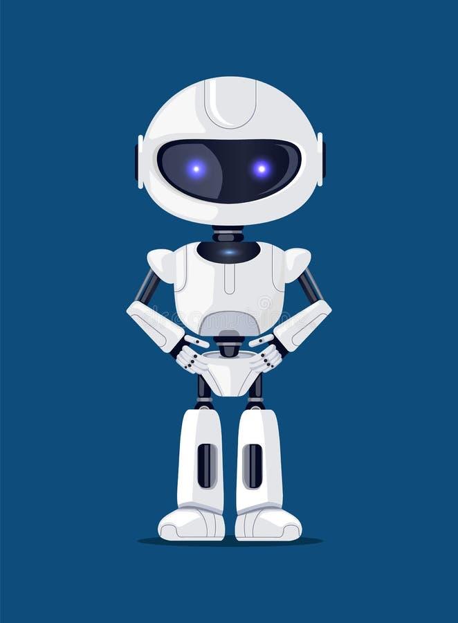 Ρομπότ της άσπρης διανυσματικής απεικόνισης αφισών χρώματος απεικόνιση αποθεμάτων