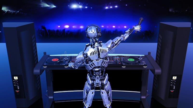 Ρομπότ του DJ, jockey δίσκων cyborg με την παίζοντας μουσική μικροφώνων στις περιστροφικές πλάκες, αρρενωπές στη σκηνή με το deej ελεύθερη απεικόνιση δικαιώματος