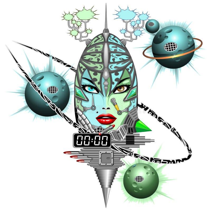 Ρομπότ φαντασίας Cyber κοριτσιών απεικόνιση αποθεμάτων