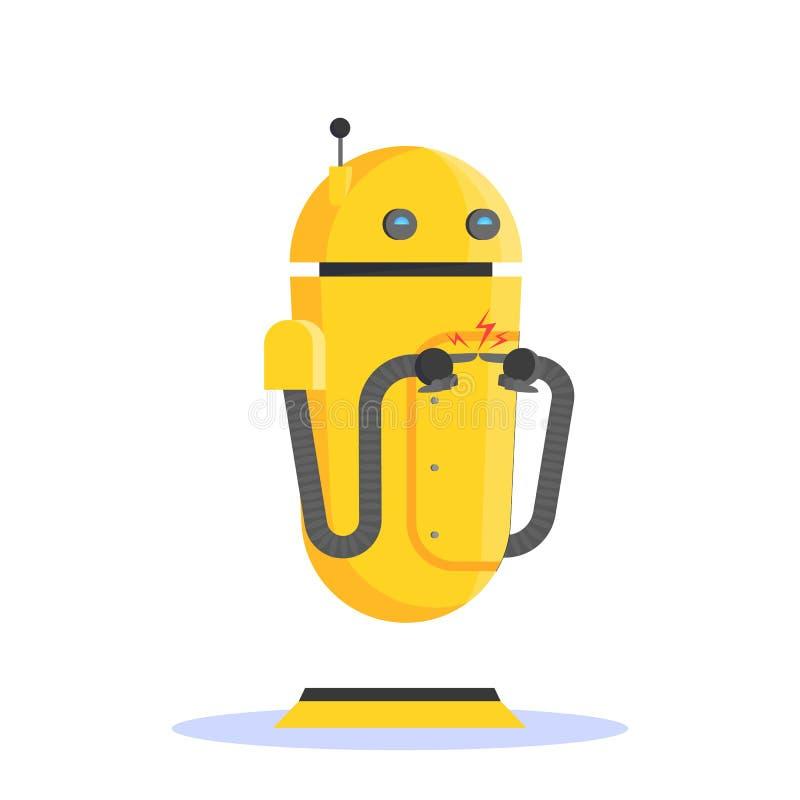 Ρομπότ, φουτουριστικός χαρακτήρας του κίτρινου χρώματος Ιδέα της αυτοματοποίησης ελεύθερη απεικόνιση δικαιώματος
