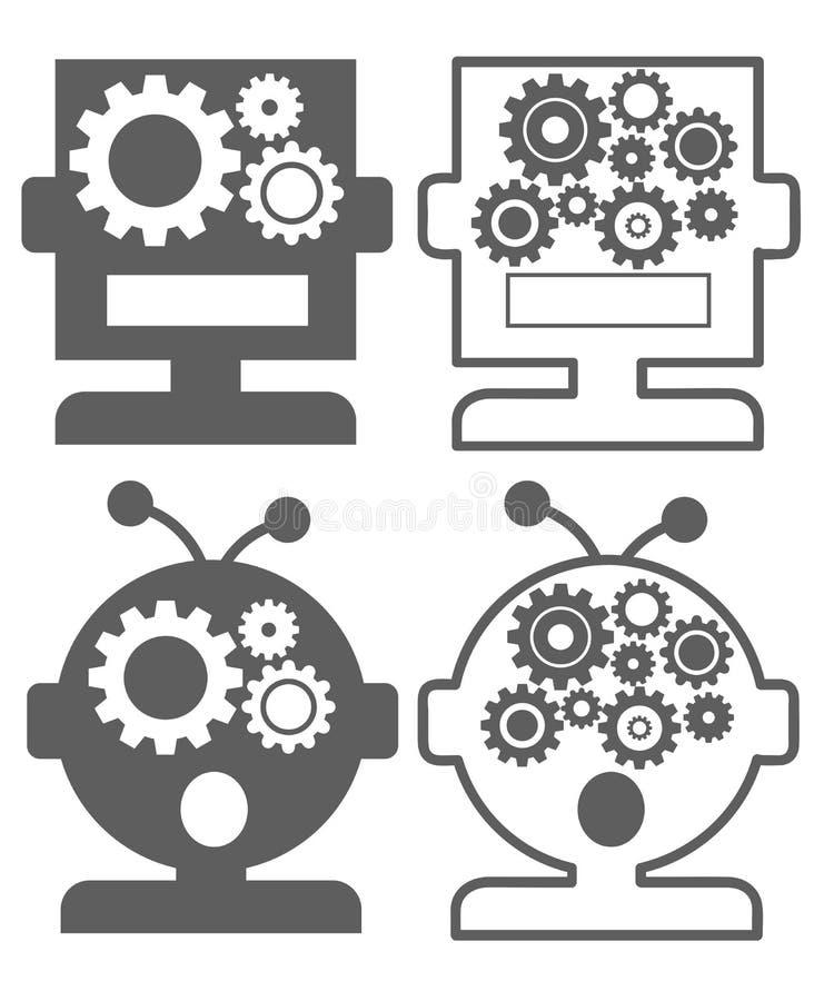 Ρομπότ AI τεχνητής νοημοσύνης - σύνολο εικονιδίων ελεύθερη απεικόνιση δικαιώματος