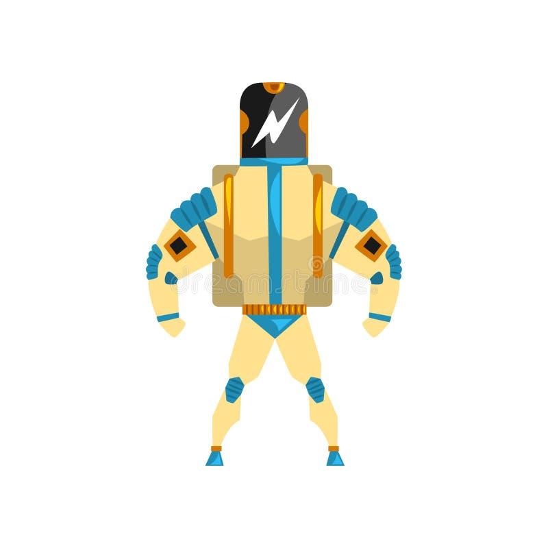 Ρομπότ, cyborg, διανυσματική απεικόνιση κοστουμιών superhero σε ένα άσπρο υπόβαθρο ελεύθερη απεικόνιση δικαιώματος