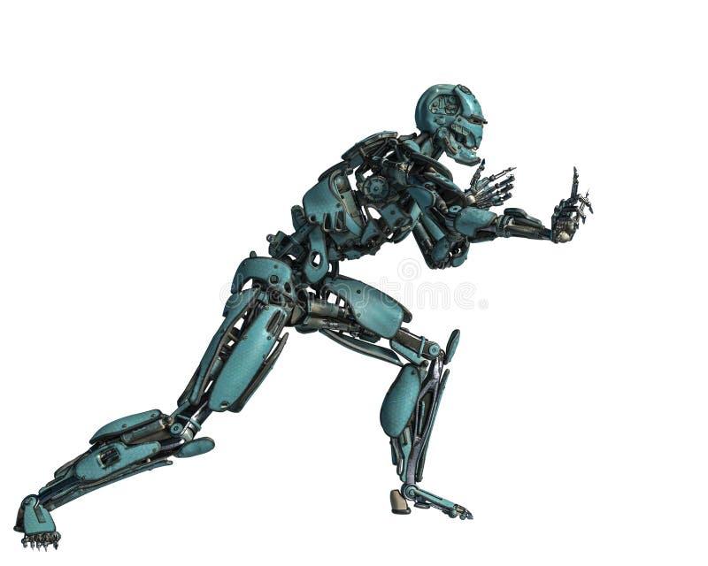 Ρομπότ Cyborg σε μια αποστολή διανυσματική απεικόνιση