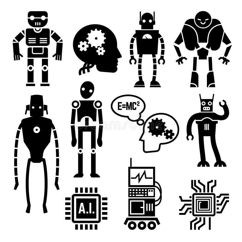 Ρομπότ, cyborgs, androids και διανυσματικά εικονίδια τεχνητής νοημοσύνης διανυσματική απεικόνιση