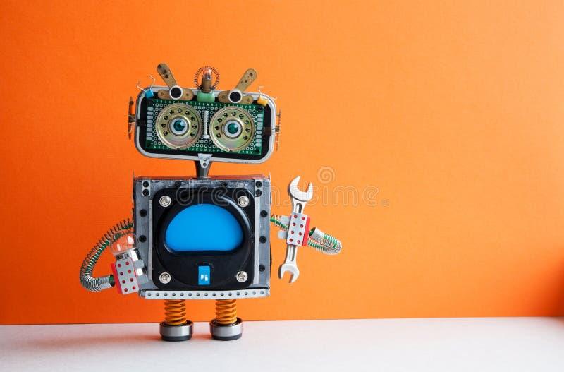 Ρομπότ handyman με τη λάμπα φωτός γαλλικών κλειδιών χεριών Καθορίζοντας έννοια συντήρησης Δημιουργικός χαρακτήρας παιχνιδιών σχεδ στοκ εικόνες με δικαίωμα ελεύθερης χρήσης