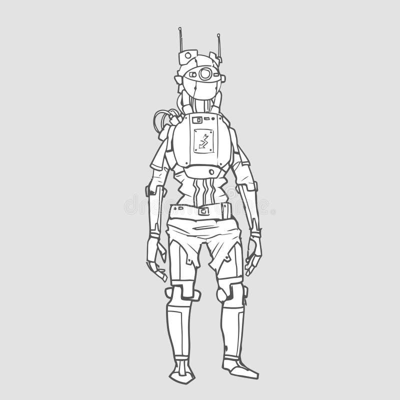 Ρομπότ Humanoid, αρρενωπό με την τεχνητή νοημοσύνη Περιγράμματος απεικόνιση που απομονώνεται διανυσματική διανυσματική απεικόνιση