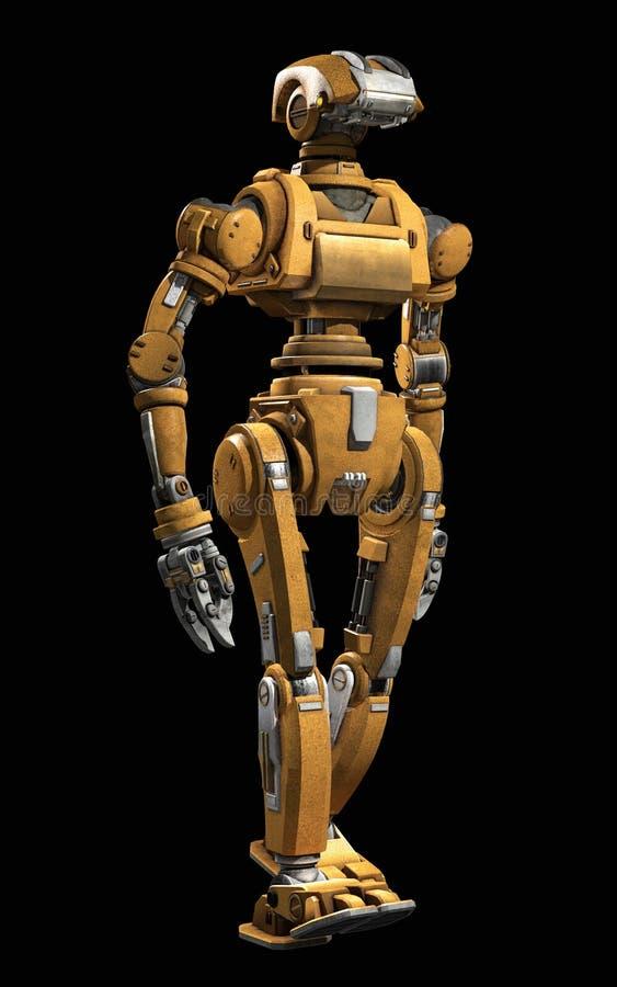 Ρομπότ Humanoid που απομονώνεται σε ένα μαύρο υπόβαθρο απεικόνιση αποθεμάτων