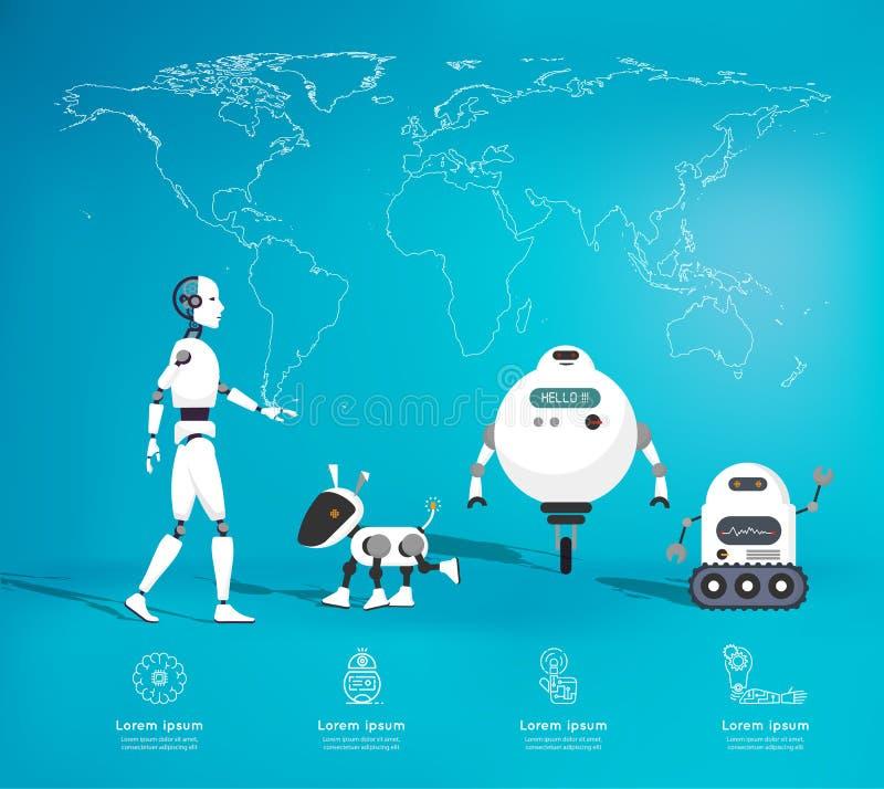 Ρομπότ Infographic της έννοιας τεχνητής νοημοσύνης διανυσματική απεικόνιση