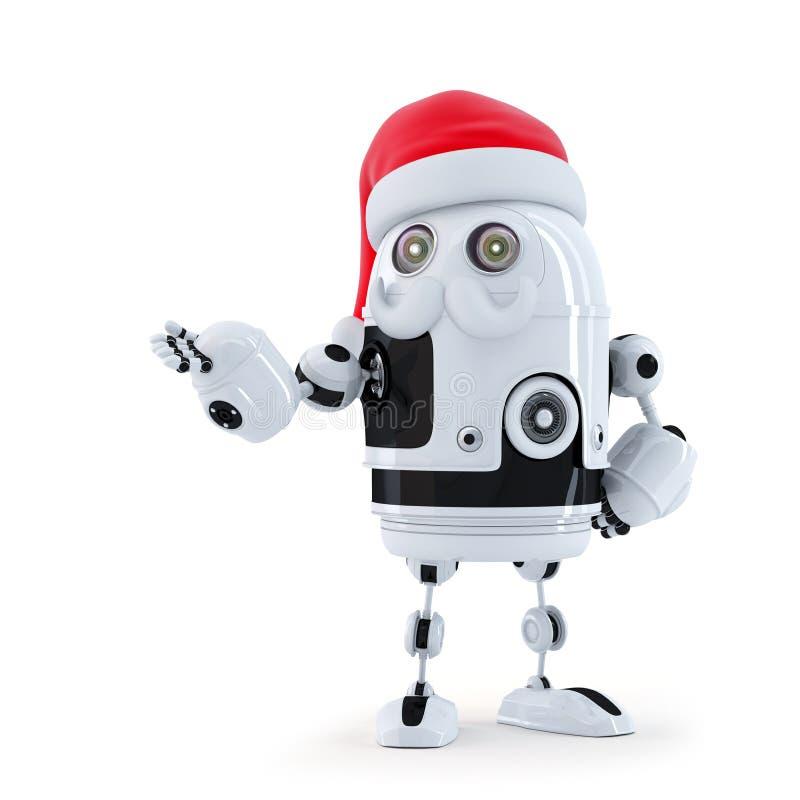 Ρομπότ Santa που παρουσιάζει αόρατο αντικείμενο διανυσματική απεικόνιση