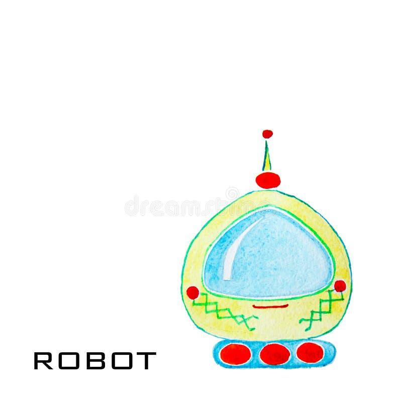 Ρομπότ watercolor κινούμενων σχεδίων για τα παιδιά Ζωηρόχρωμα απομονωμένα αντικείμενα στο άσπρο υπόβαθρο στοκ φωτογραφία με δικαίωμα ελεύθερης χρήσης