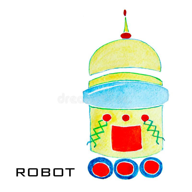 Ρομπότ watercolor κινούμενων σχεδίων για τα παιδιά Ζωηρόχρωμα απομονωμένα αντικείμενα στο άσπρο υπόβαθρο στοκ εικόνα