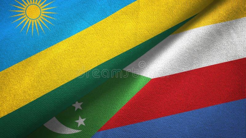 Ρουάντα και Κομόρες δύο υφαντικό ύφασμα σημαιών, σύσταση υφάσματος απεικόνιση αποθεμάτων