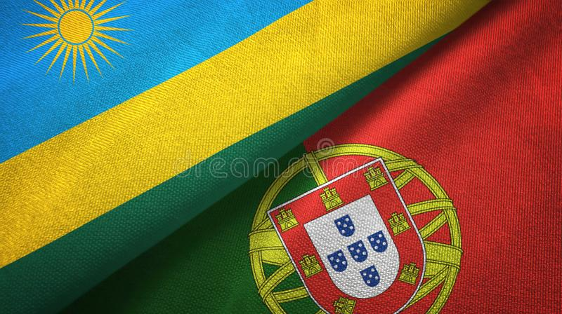 Ρουάντα και Πορτογαλία δύο υφαντικό ύφασμα σημαιών, σύσταση υφάσματος διανυσματική απεικόνιση
