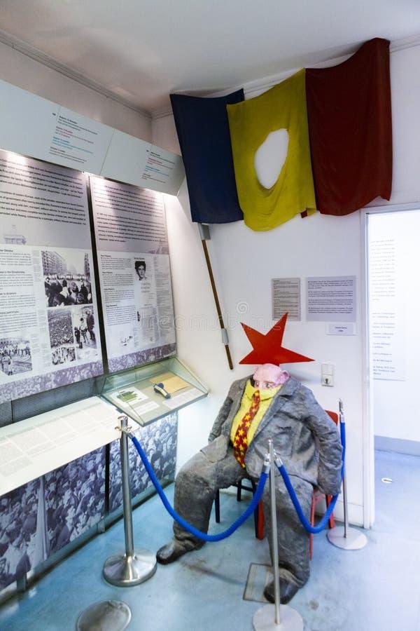 Ρουμανική σημαία και το κρύβοντας ειδώλιο χοίρων πολιτικών κομμουνιστών στοκ εικόνες με δικαίωμα ελεύθερης χρήσης