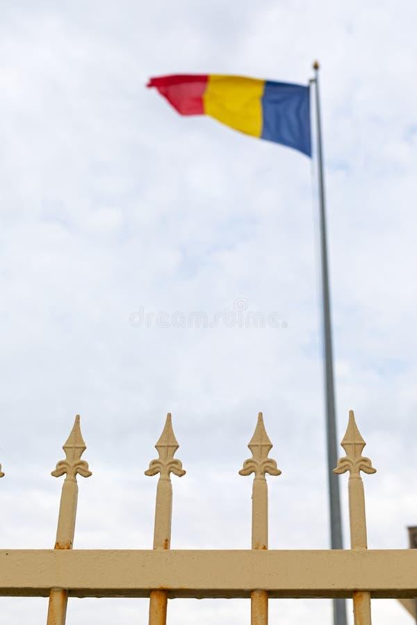 Ρουμανική σημαία στα σύνορα, Vama Veche στοκ εικόνες
