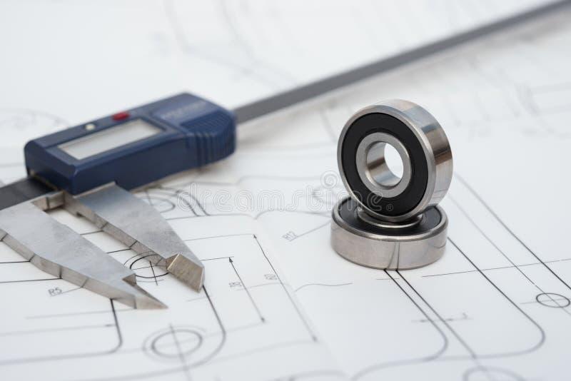 Ρουλεμάν και παχυμετρικός διαβήτης σε ένα σχέδιο εφαρμοσμένης μηχανικής στοκ φωτογραφία με δικαίωμα ελεύθερης χρήσης