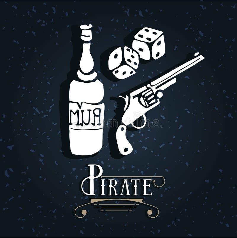 Ρούμι πειρατών σχεδίων χεριών, πυροβόλο όπλο, πιστόλι, περίστροφο, περίστροφο διανυσματική απεικόνιση