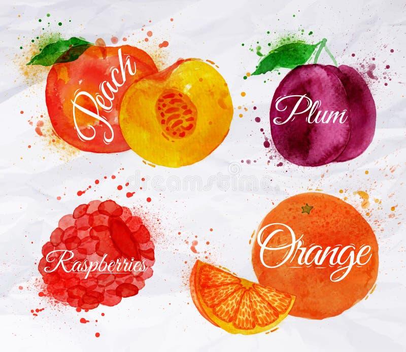 Ροδάκινο watercolor φρούτων, σμέουρο, δαμάσκηνο, πορτοκάλι απεικόνιση αποθεμάτων