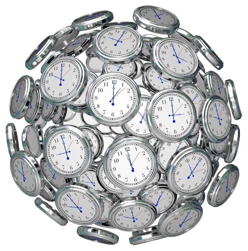 Ρολόγια στο χρόνο σφαιρών που κρατά το προηγούμενο παρόν μέλλον διανυσματική απεικόνιση