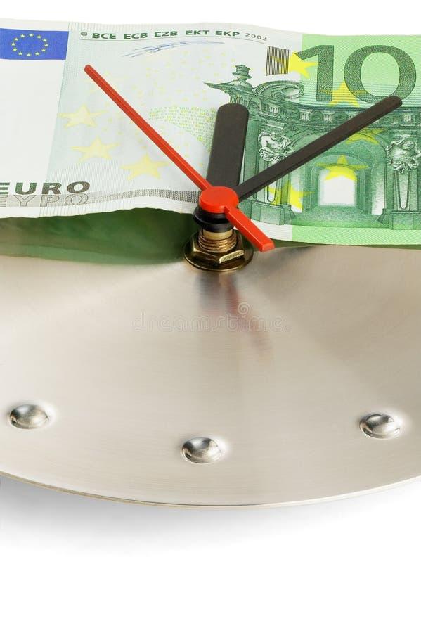 Ρολόι και ευρο- λογαριασμοί στοκ φωτογραφίες