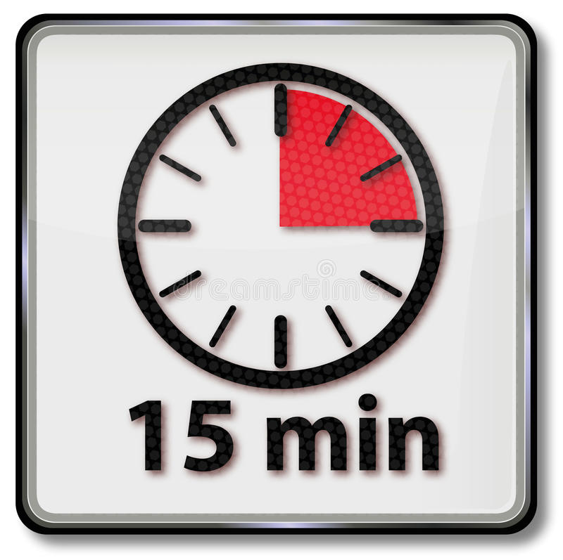 Ρολόι με δεκαπέντε λεπτά διανυσματική απεικόνιση