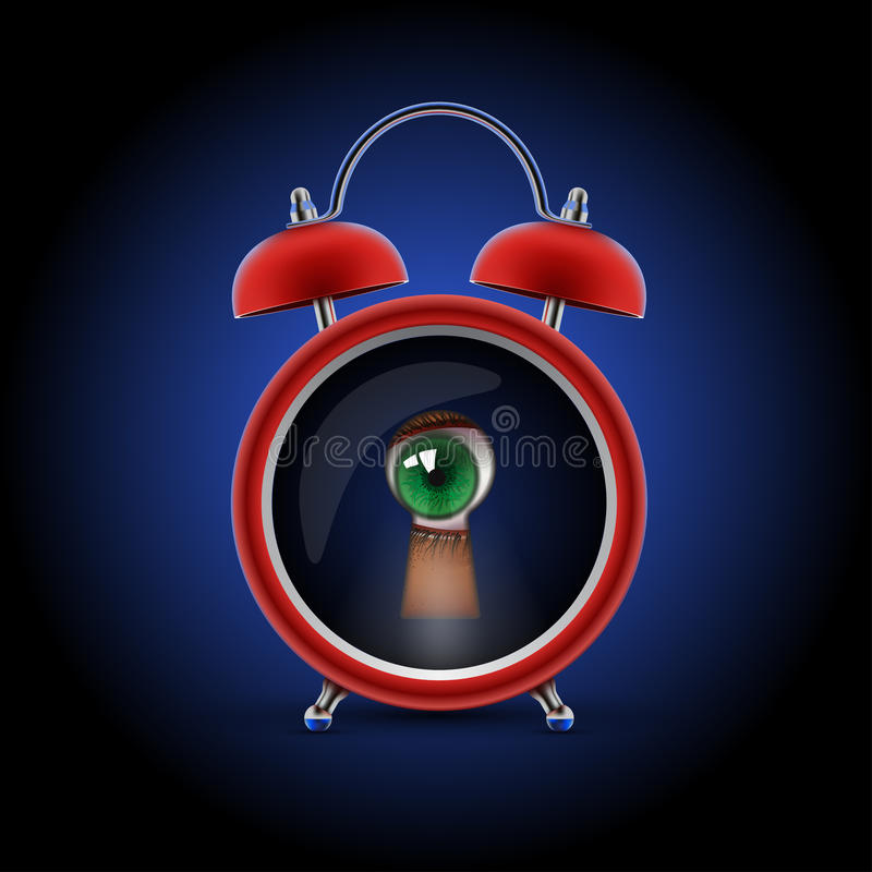 Ρολόι με το μάτι κλειδαροτρυπών ελεύθερη απεικόνιση δικαιώματος