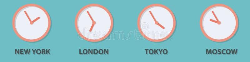 Ρολόι παγκόσμιων διαφορών ώρας διανυσματική απεικόνιση