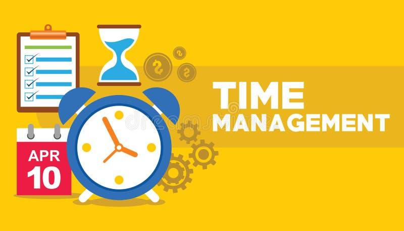 Ρολόι χρονικής διαχείρισης που πετά με την επιχειρησιακή έννοια εργαλείων απεικόνιση αποθεμάτων