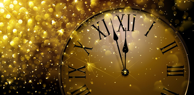 Ρολόι δώδεκα ο στη νέα παραμονή έτους s ελεύθερη απεικόνιση δικαιώματος